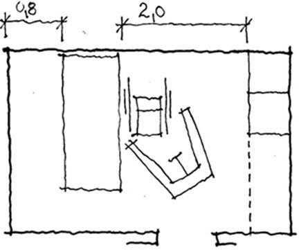 Exempel på planlösning för utrymme.