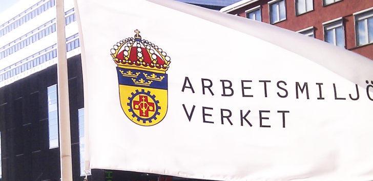 Flag with the Swedish Work Environment Authoritys logtype
