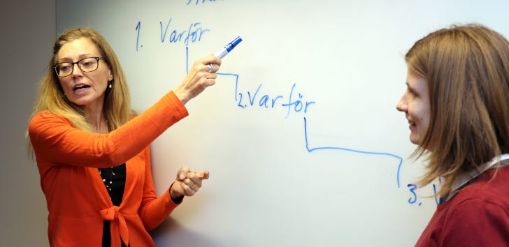 Image of two women in front of a whiteboard that shows plans for systematic work environment.